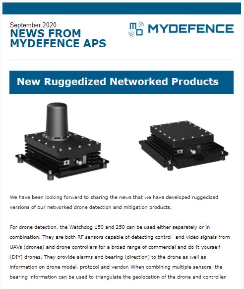 MyDefence newsletter - Ruggedized drone detection and mitigation products